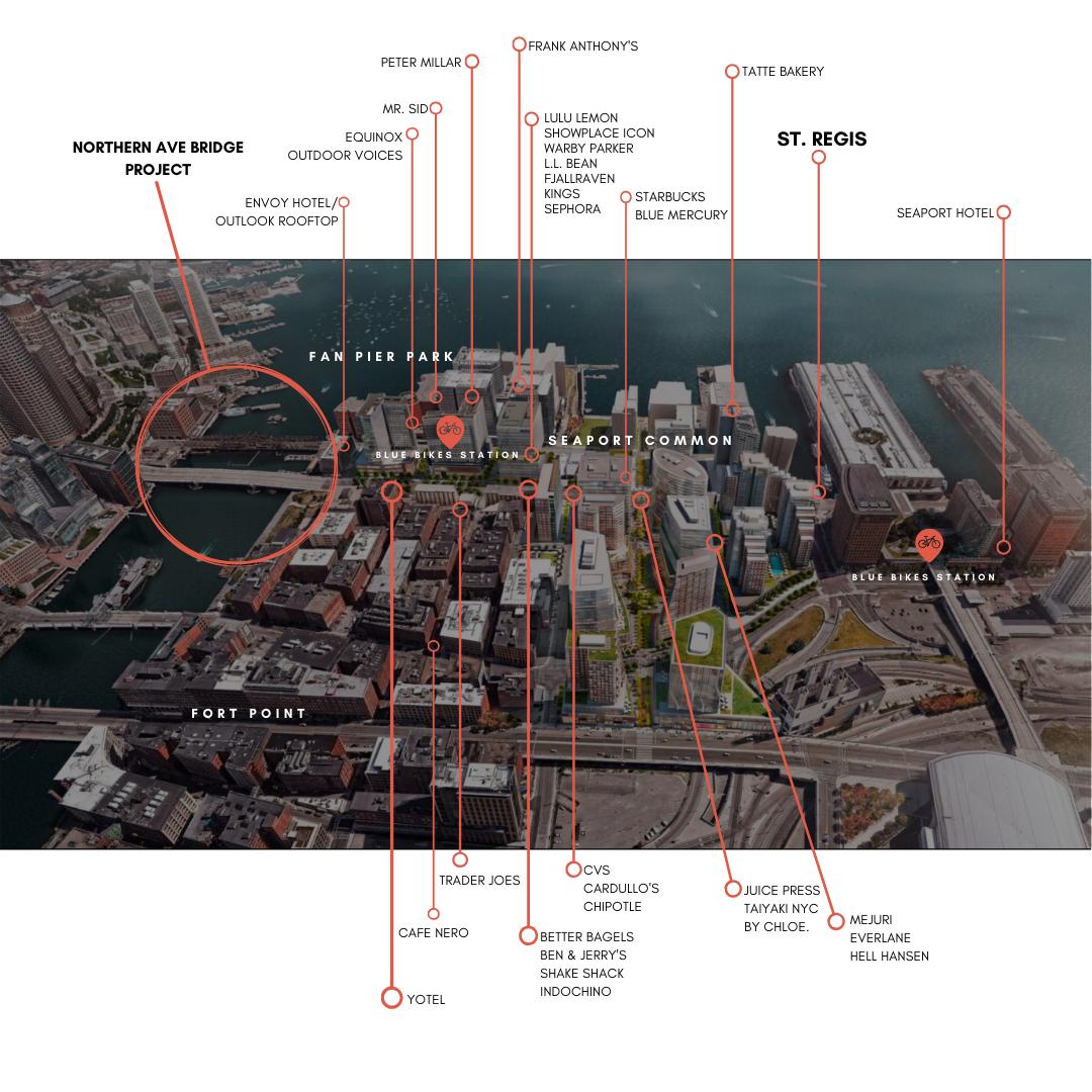 Map of Area Amenities for St. Regis Boston
