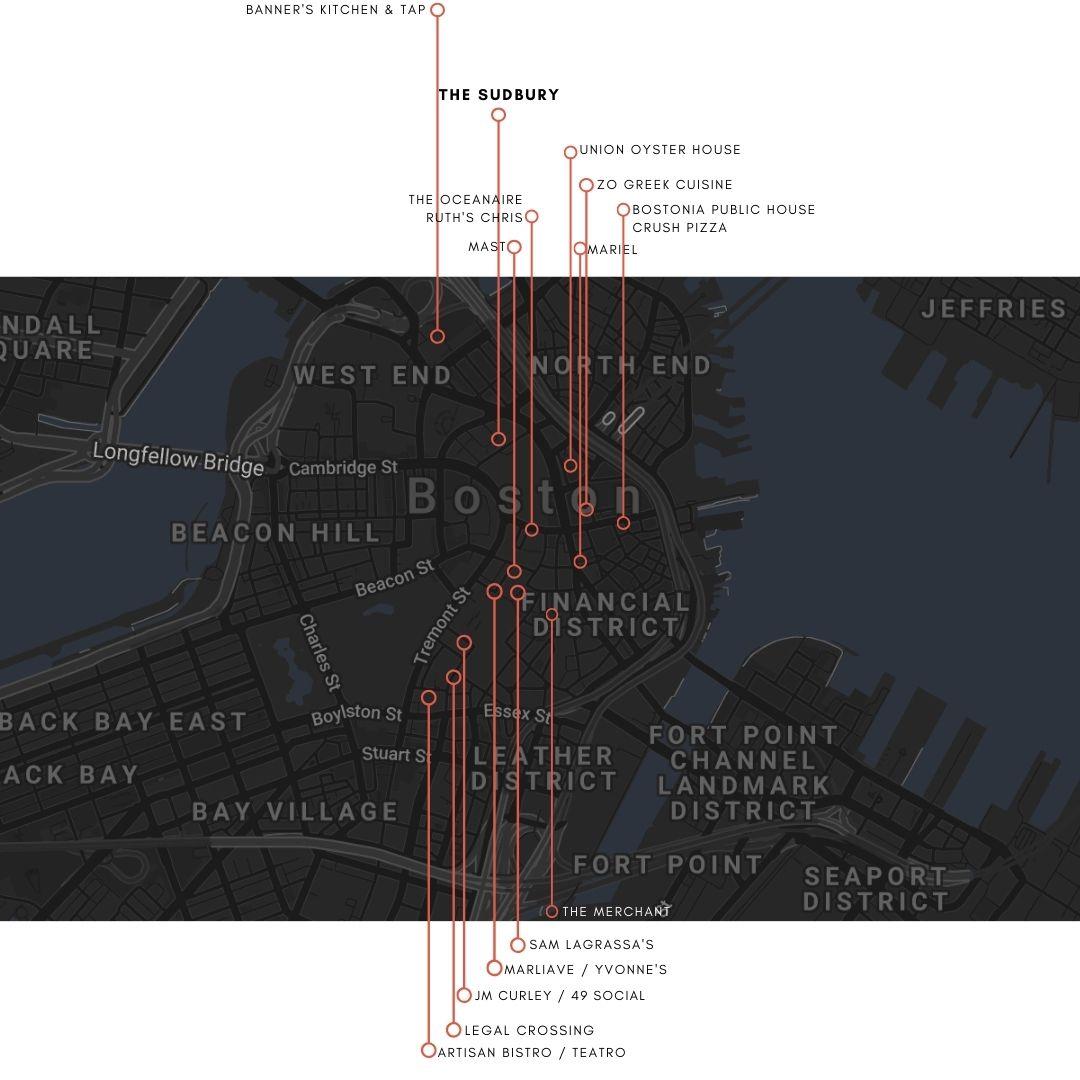 Map of Restaurants around The Sudbury in Boston