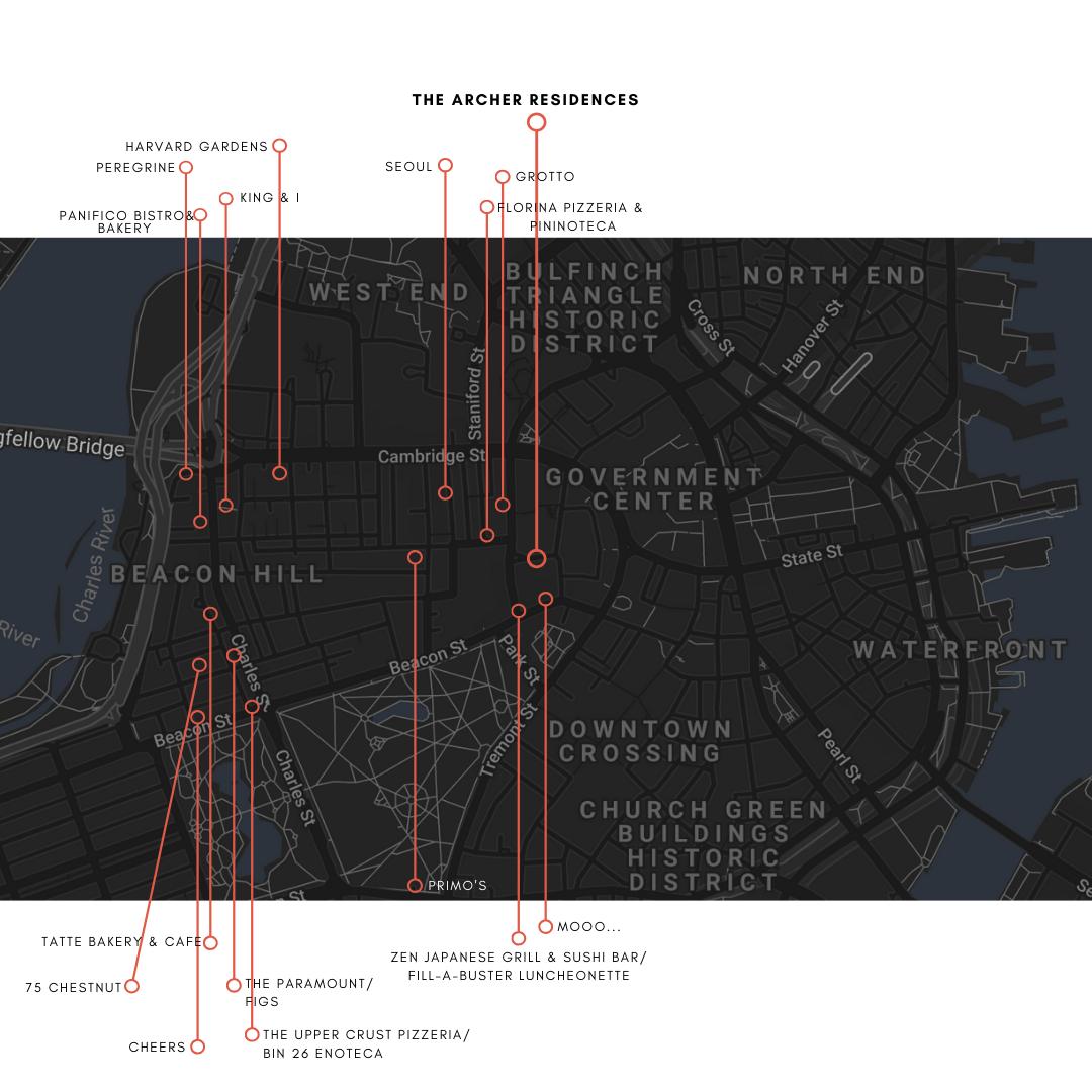 Map of Restaurants Near The Archer in Boston MA