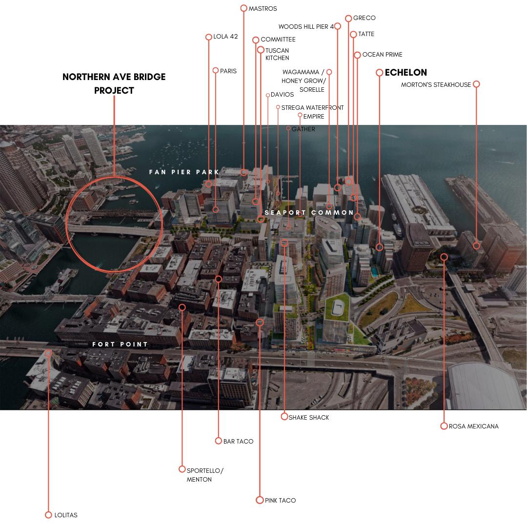 Map of Restaurants Near Echelon Seaport in Boston MA