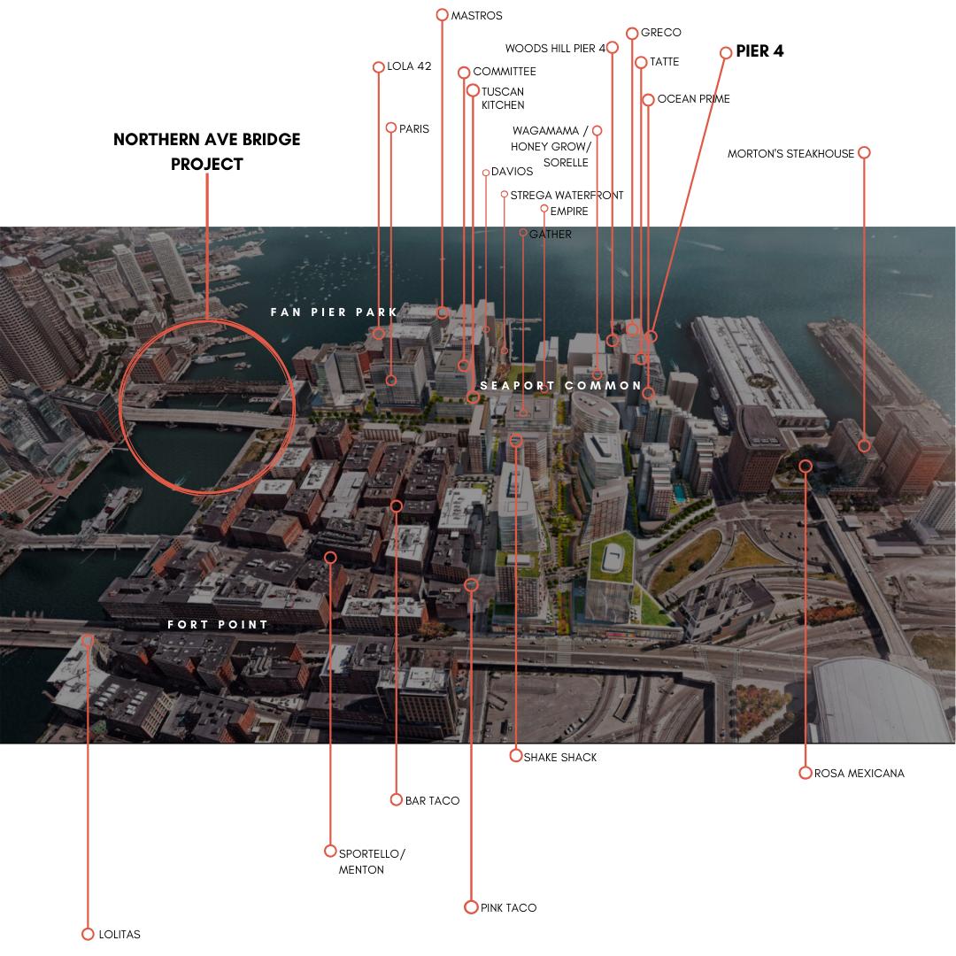 Map of Restaurants Near PIER 4 in Boston MA