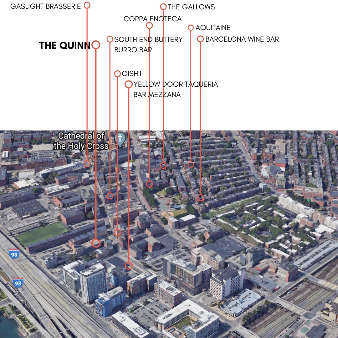 Map of Restaurants Near The Quinn