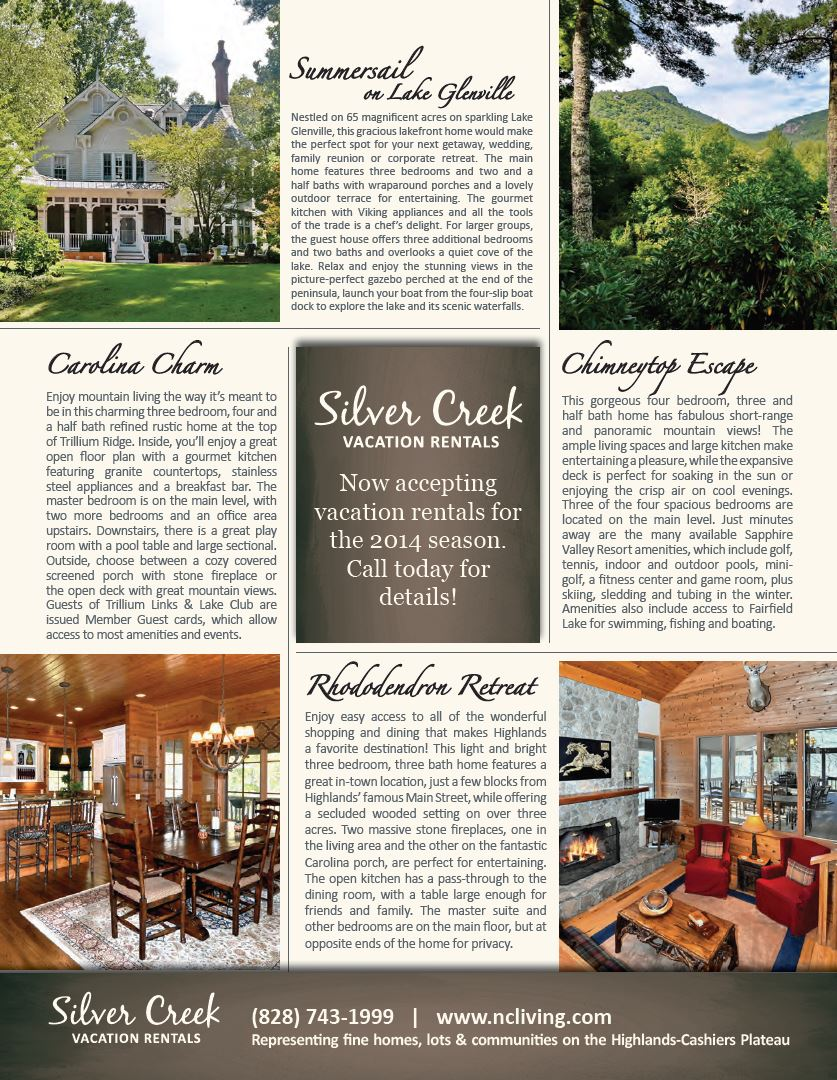 Silver Creek Vacation Rentals in Cashiers Highlands Lake Glenville Sapphire