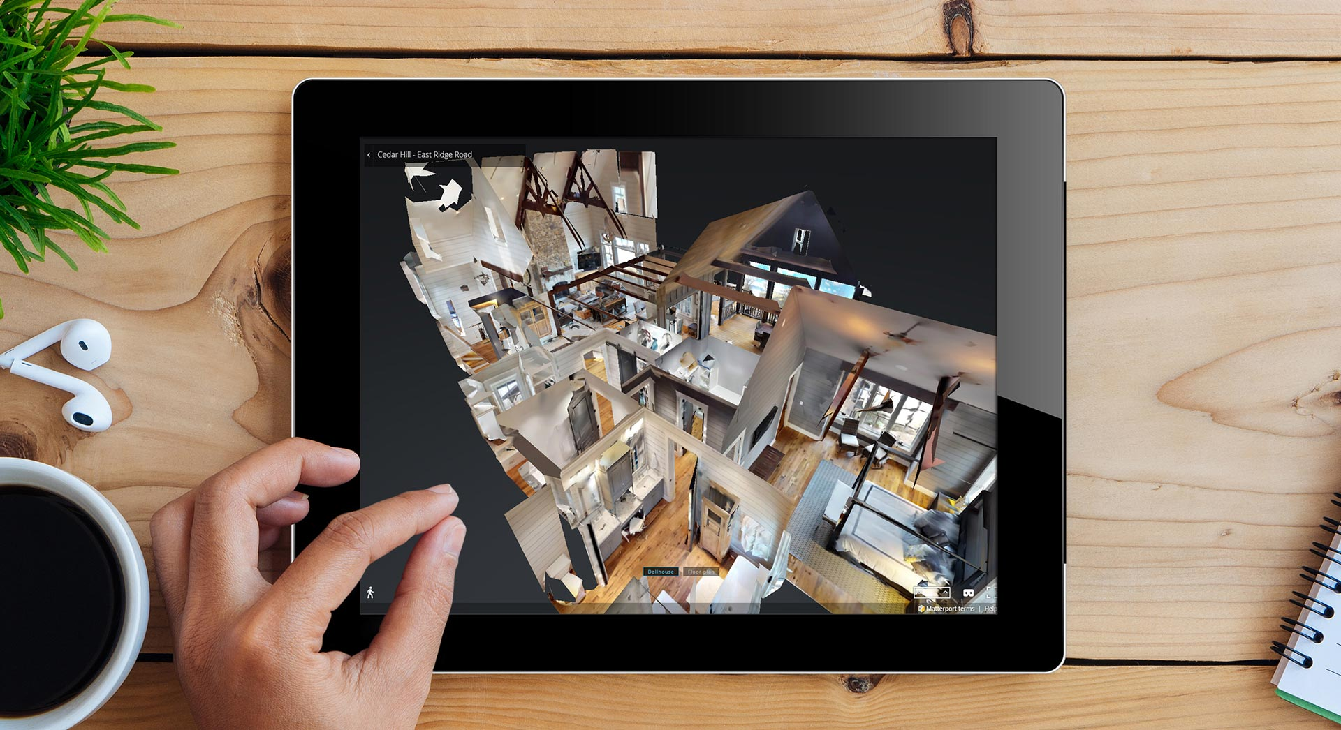 iPad displaying example of virtual 3D home tour