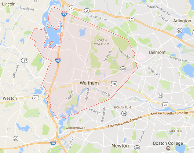 Waltham MA Map