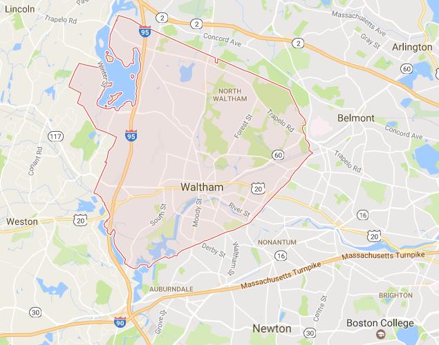 Waltham MA Map