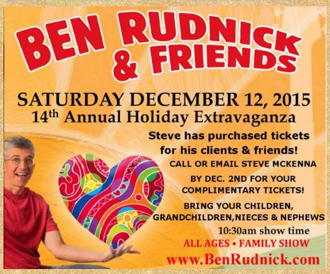 Steve McKenna gives free tickets to Ben Rudnick holiday concert at the Regent Theater