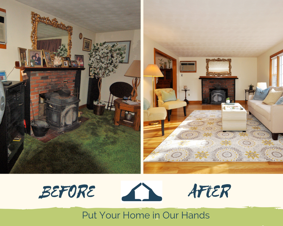 Before and After (Living Room) - The Importance of Preparing Your Home For Sale