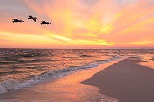 Sunset on Sanibel Island Beaches in Florida