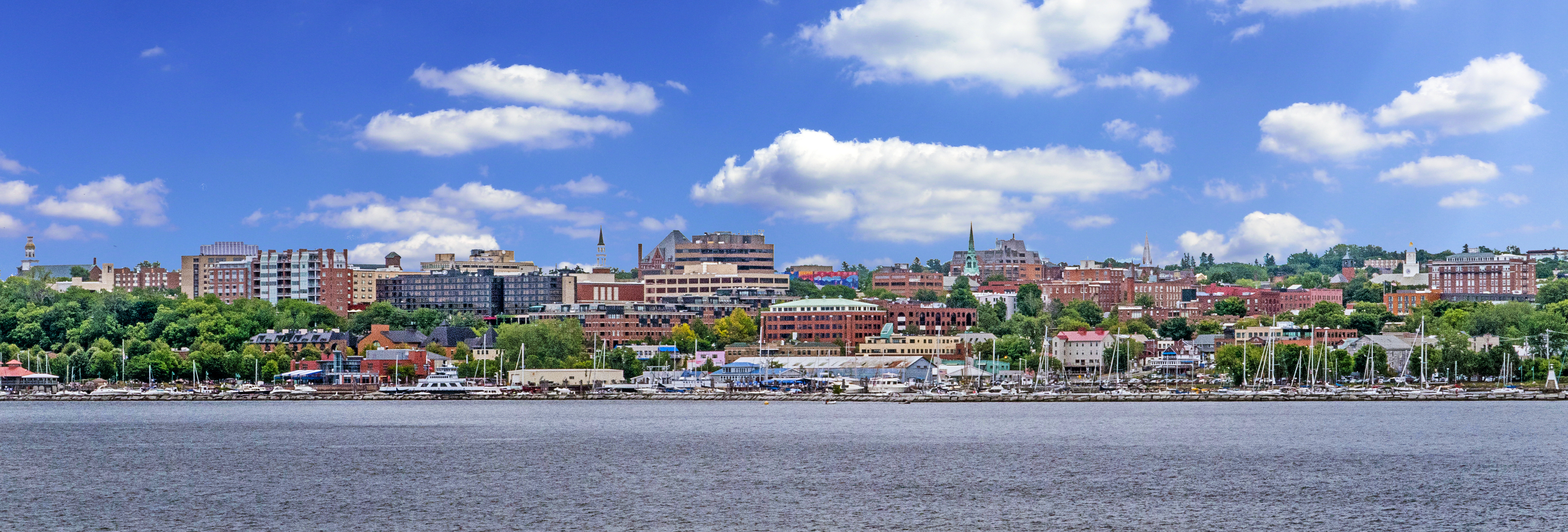 City of Burlington waterfront from Lake Champlain