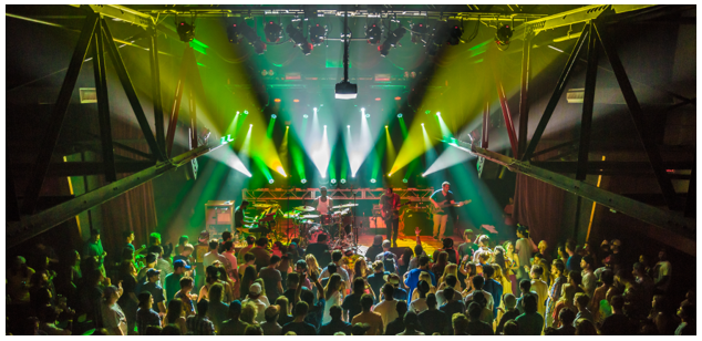 higher ground music venue is lit up during a full concert