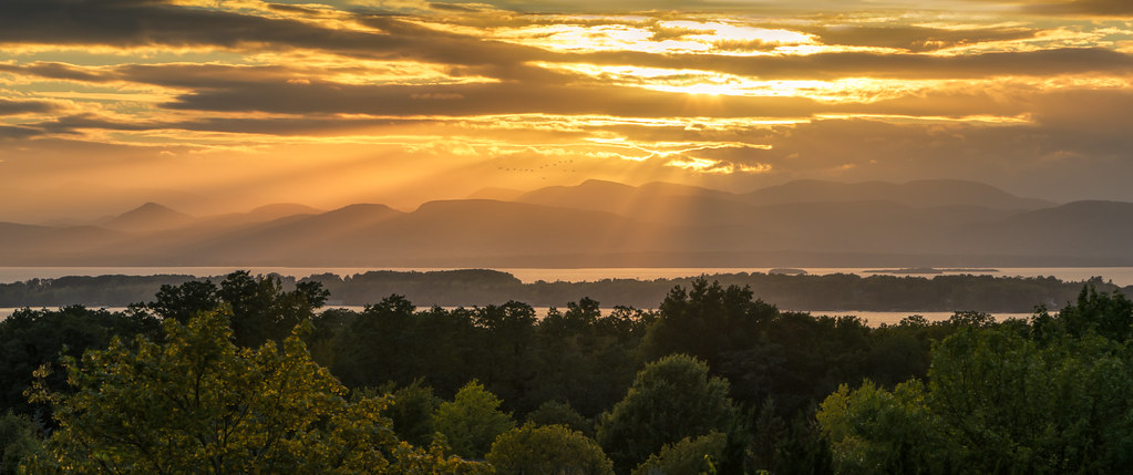 Overlook park in South Burlington, Vermont boasts scenic views of Lake Champlain and the Adirondack Mountains