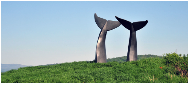 Whale Tail sculpture in South Burlington, Vermont off of interstate 89