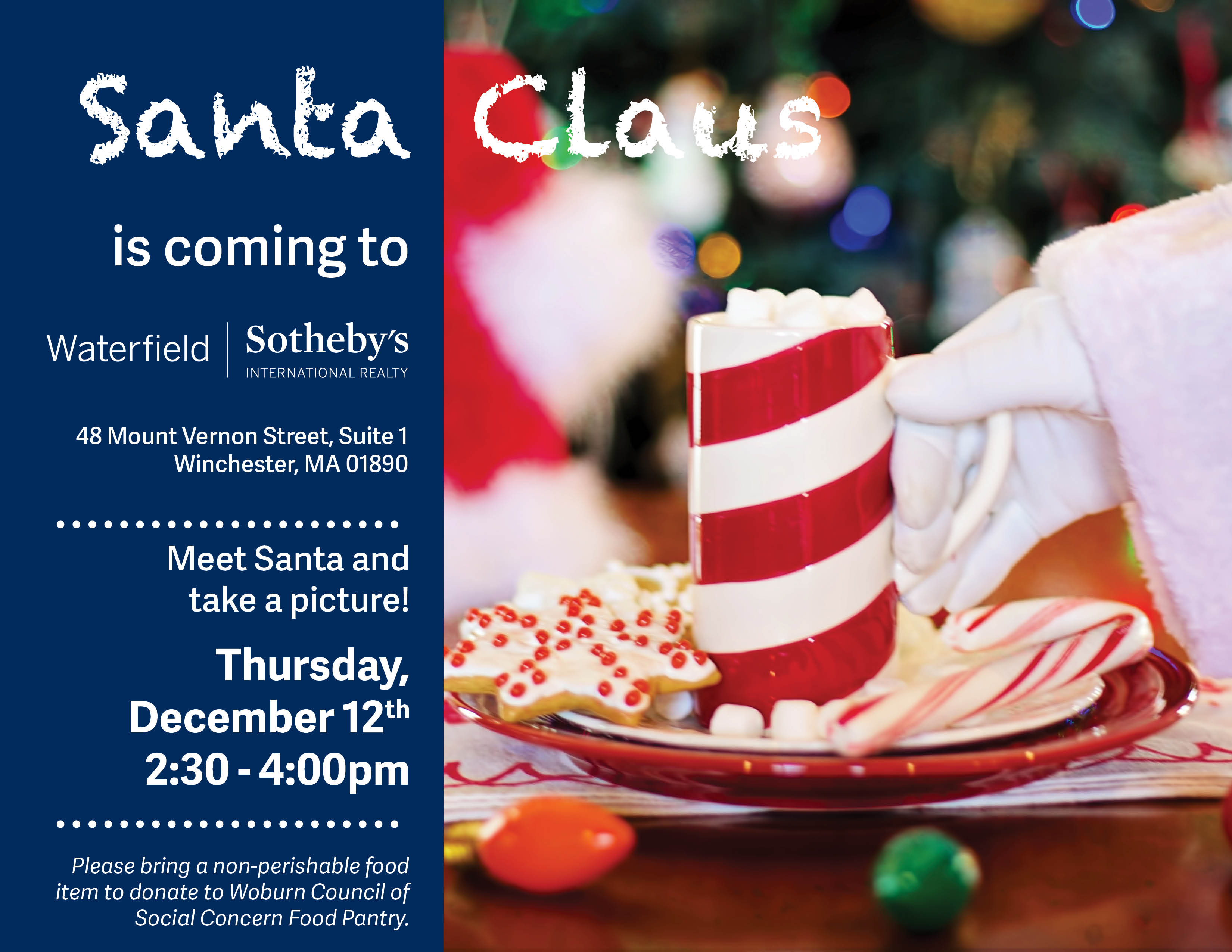 Flyer for Santa Picture Event with Waterfield Sotheby's International Realty