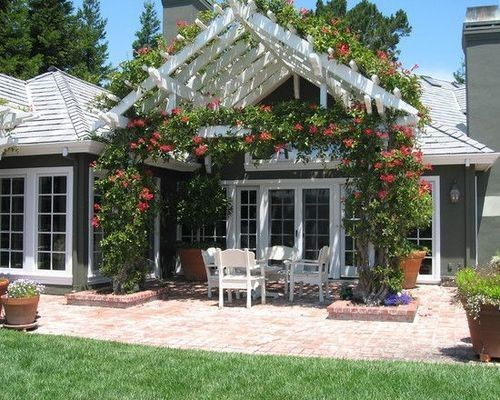 pergola over an outdoor seating area