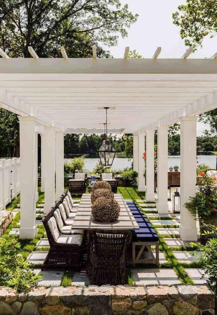 dining pavilion or pergola located away from the house makes an elegant destination for entertaining