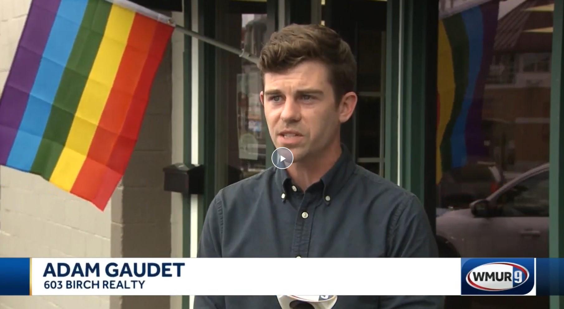 Adam Gaudet, 603 Birch Realty Broker/Founder, speaks with WMUR-TV, August 2021