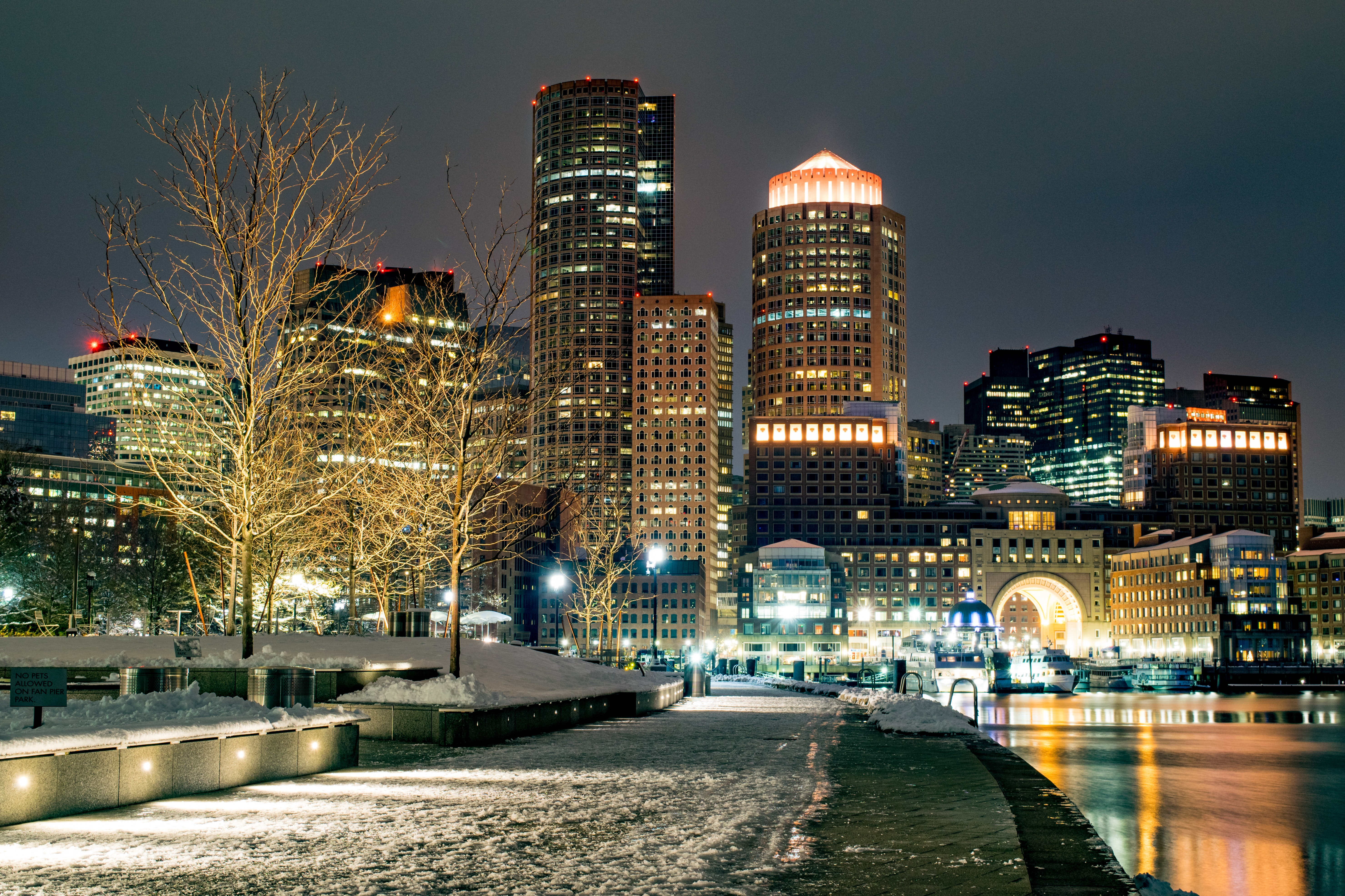 Boston Seaport at Night