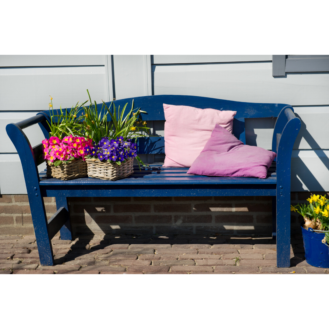 Blue outdoor couch to upgrade a home's curb appeal