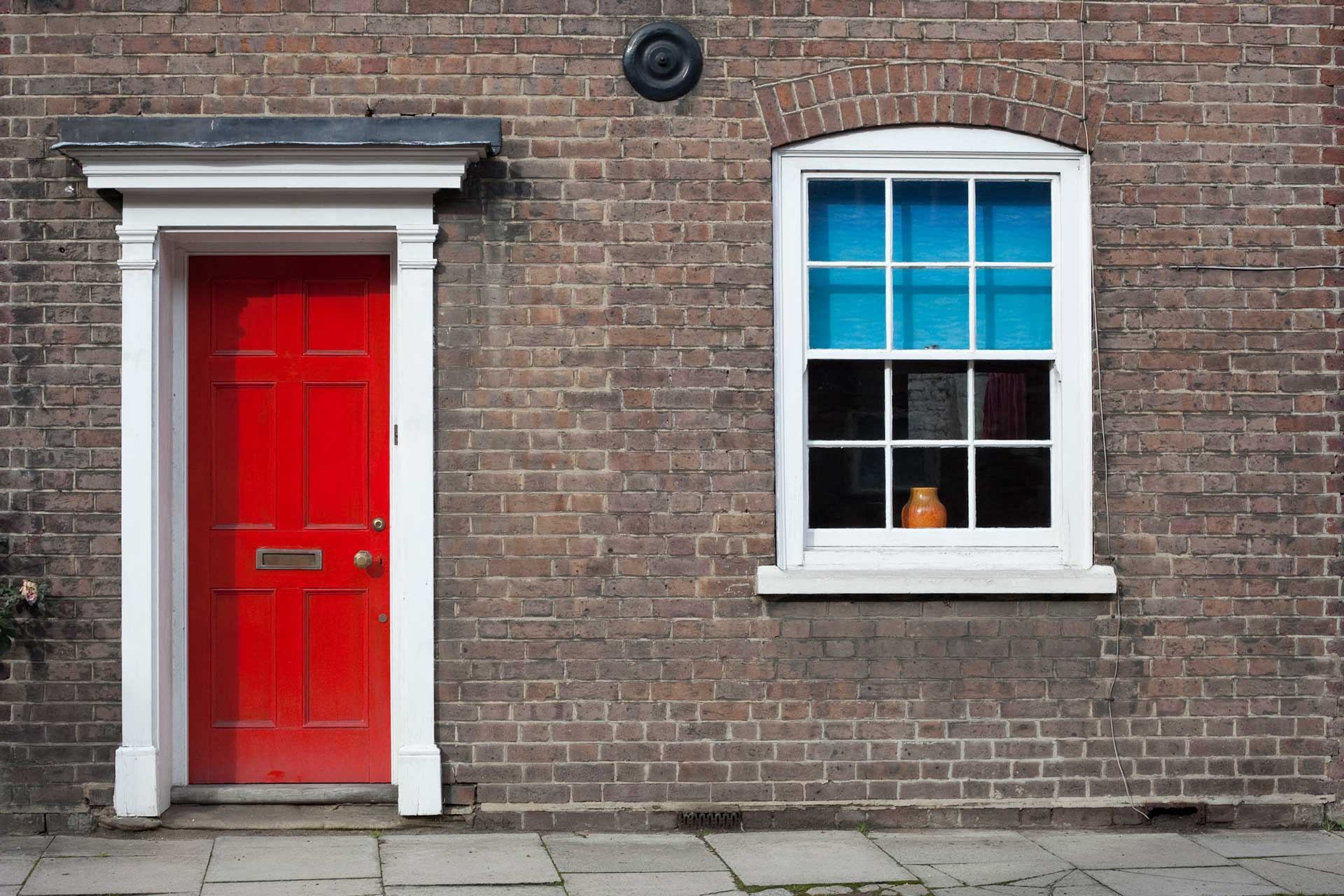 Brick Home with Red Door
