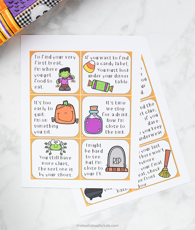Halloween printable scavenger hunt cards
