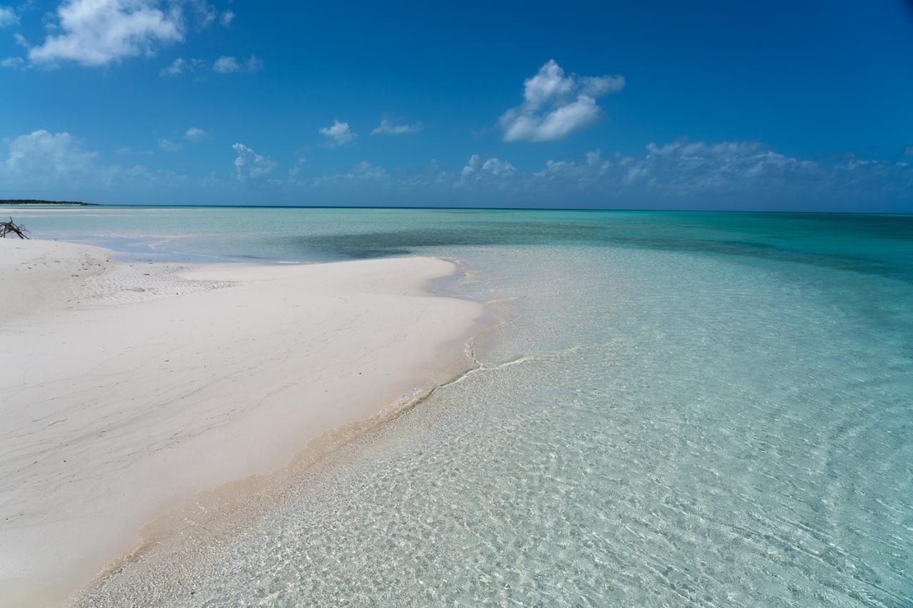 Sand flats on Little Ragged Island in The Bahamas
