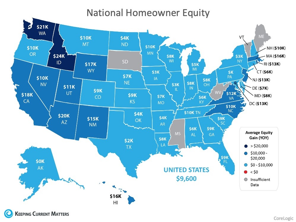 National Home Equity Map Year over Year Increase | Mackenzie Rae Team | Century 21 American Homes