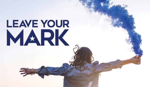 """Leave Your Mark"" Graphic With Girl With Blue Smoke"
