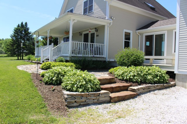 front porch with stone steps