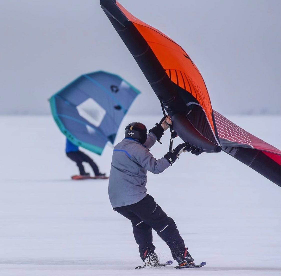 Kitewing on Skis at Sandbar Causeway