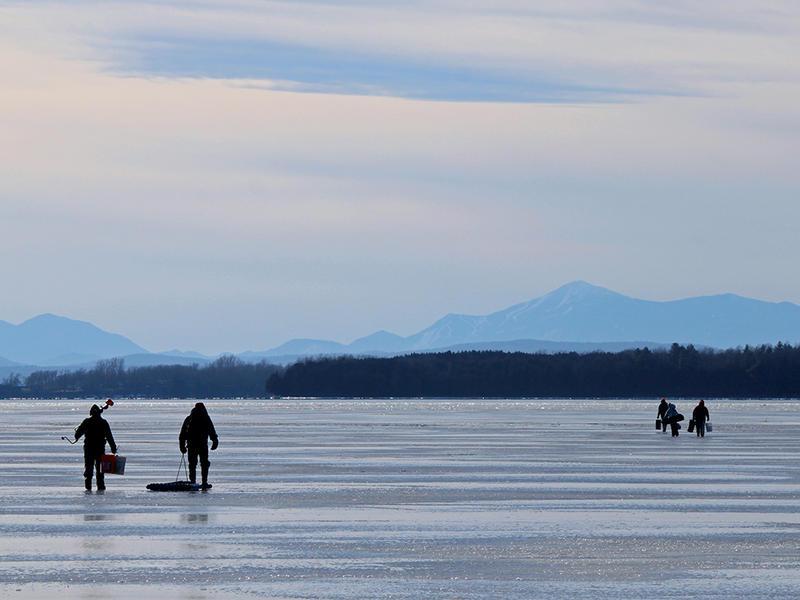 Ice Fishing at Sandbar Causeway