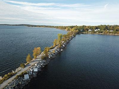Drone shot of the Island Line Trail Burlington Bike Path