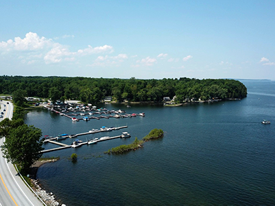 drone shot of apple island marina