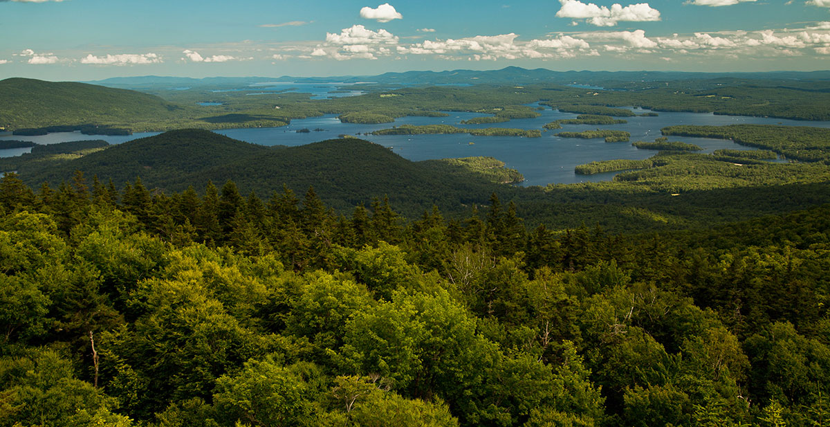 Beautiful View of Mountains and Lakes in New Hampshire's Lakes Region