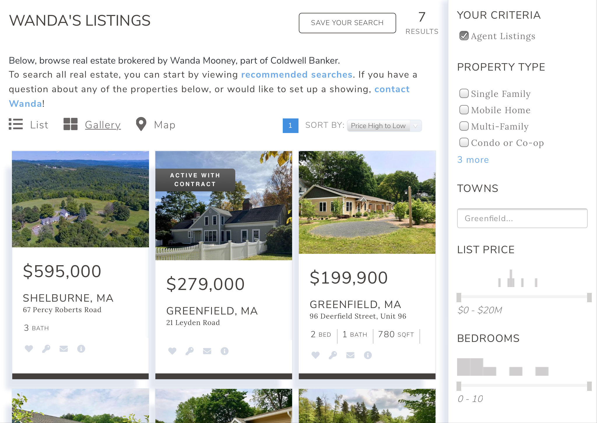 Listing search western mass