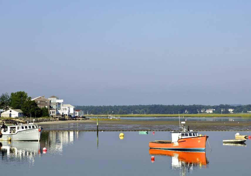 boats on lake coast