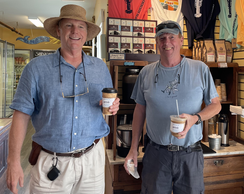 Two men enjoying coffee