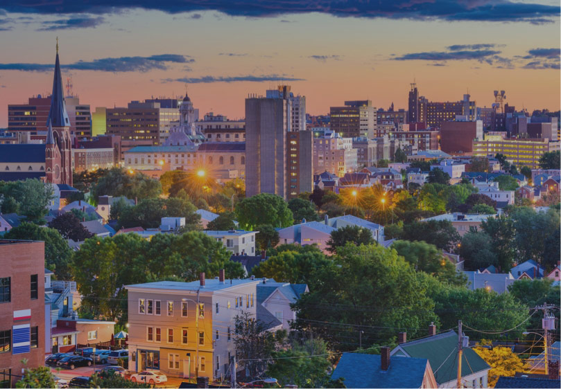 arial view of downtown Portland, Maine at dusk