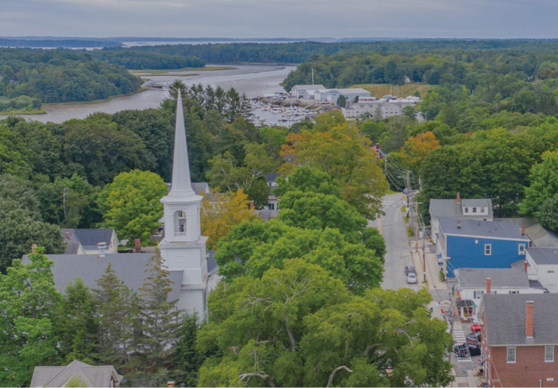 Arial view of Yarmouth, Maine during the day