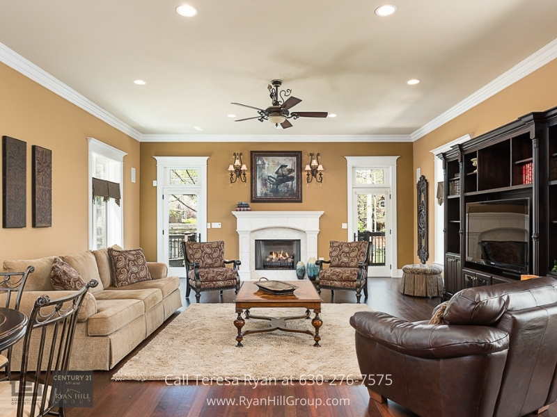 Naperville IL luxury home- The best of entertainment and relaxation are yours in the family room of this luxury home for sale in Naperville IL.