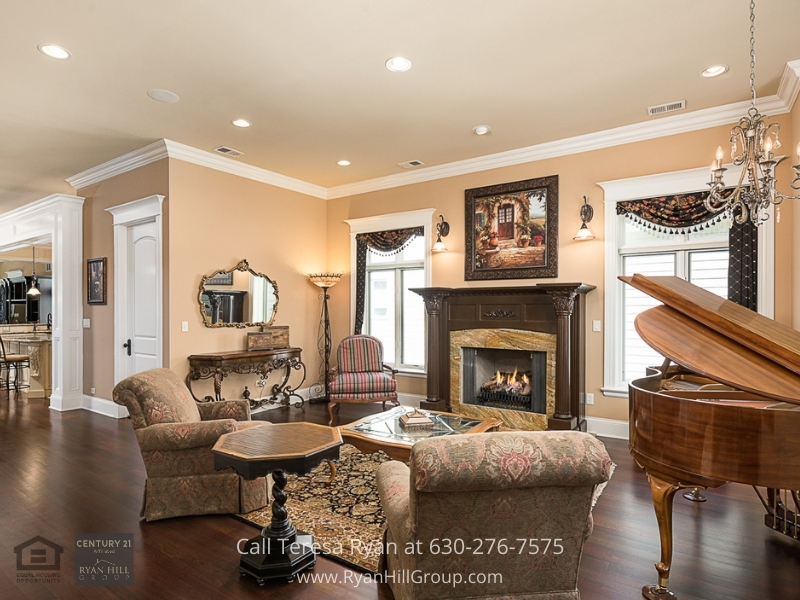 Luxury real estate in Naperville IL- This generously proportioned Naperville luxury home features an elegant formal living room.