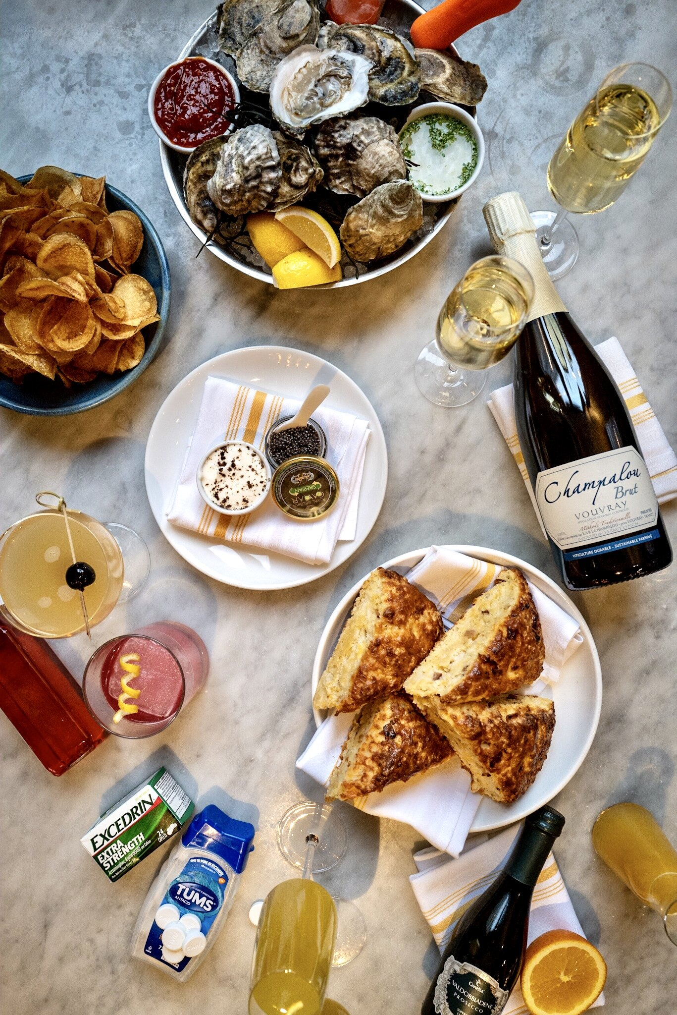NYE Kit from Waypoint; features Oysters, cocktails, champagne, hangover cures, and more.