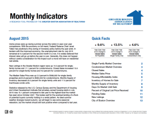 August 2015 Greater Boston Real Estate Market Trends Report