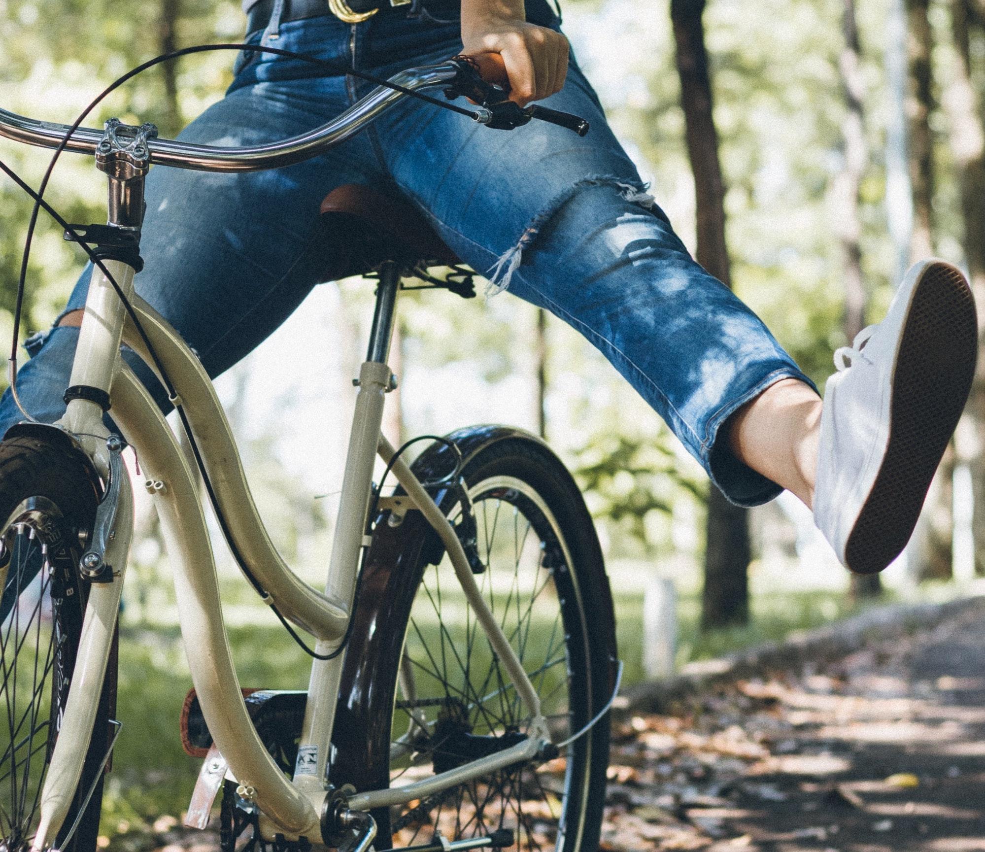 Biking on Trail in Woods