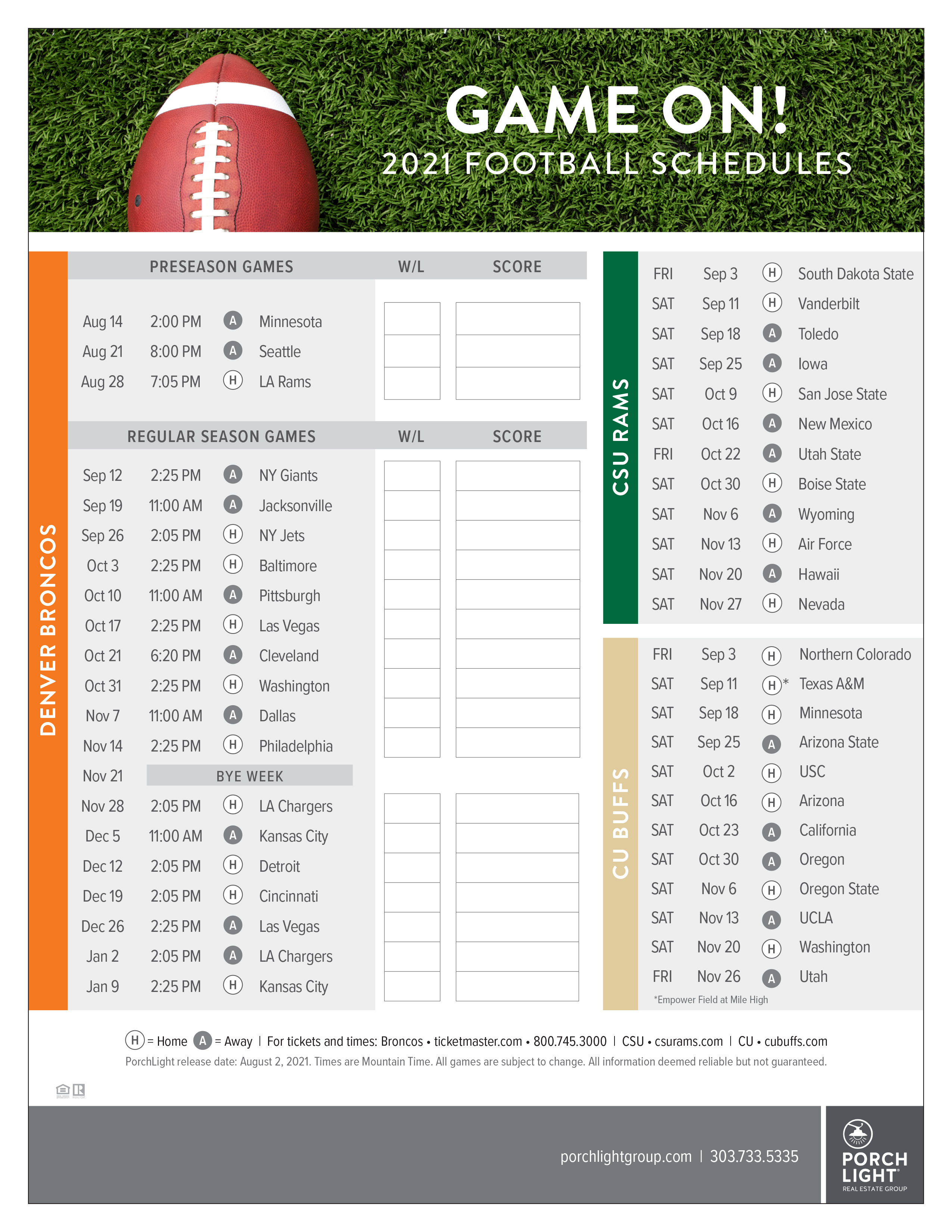2021 Denver Broncos football schedule plus Buffs and Rams