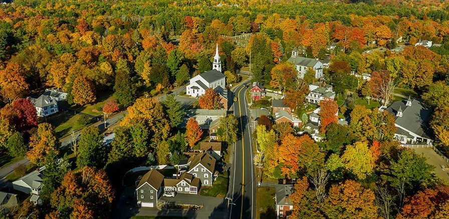 Aerial View of classic New England town in Fall