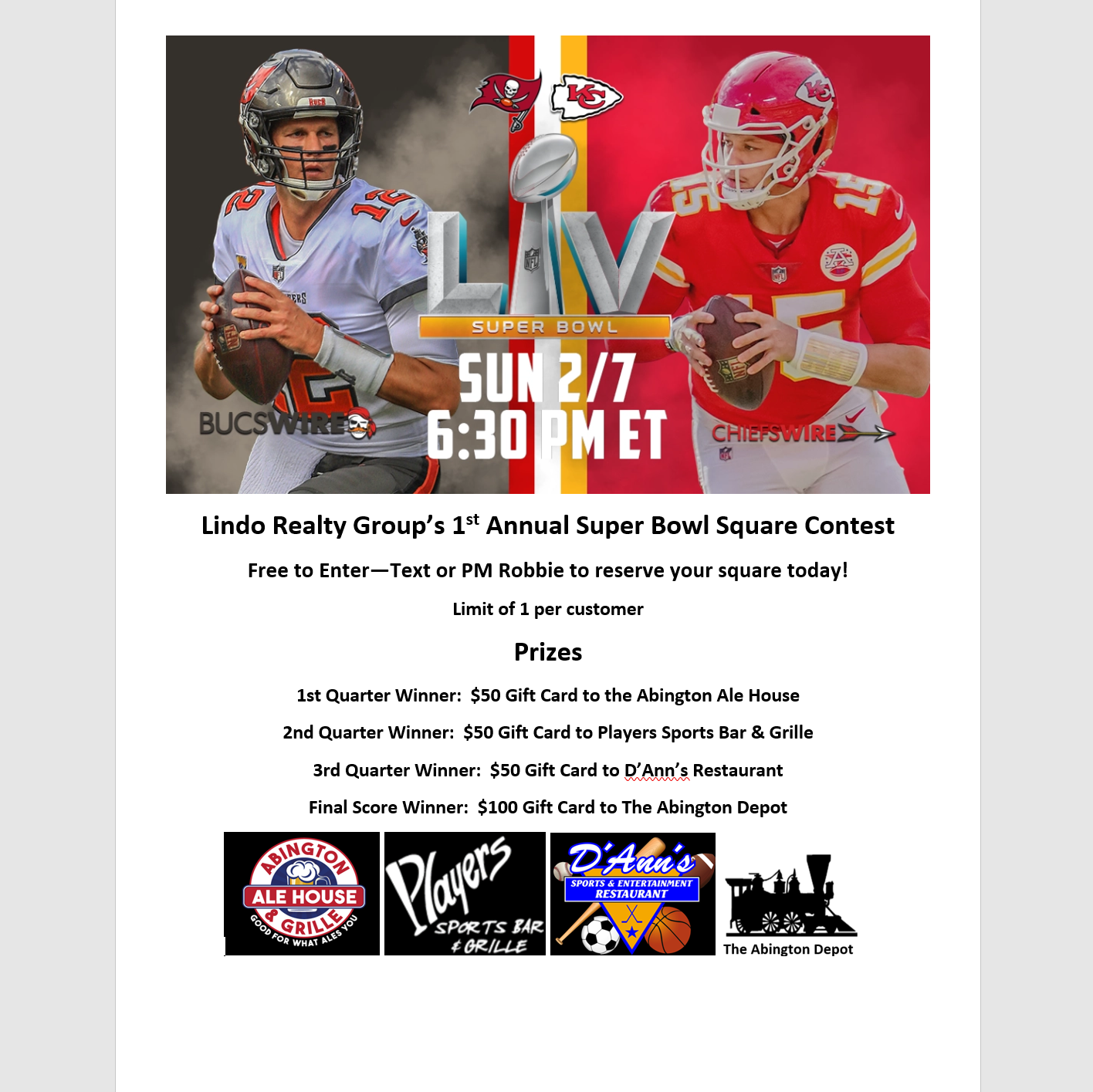 Lindo-Realty-Group-Super-Bowl-Square-Contest