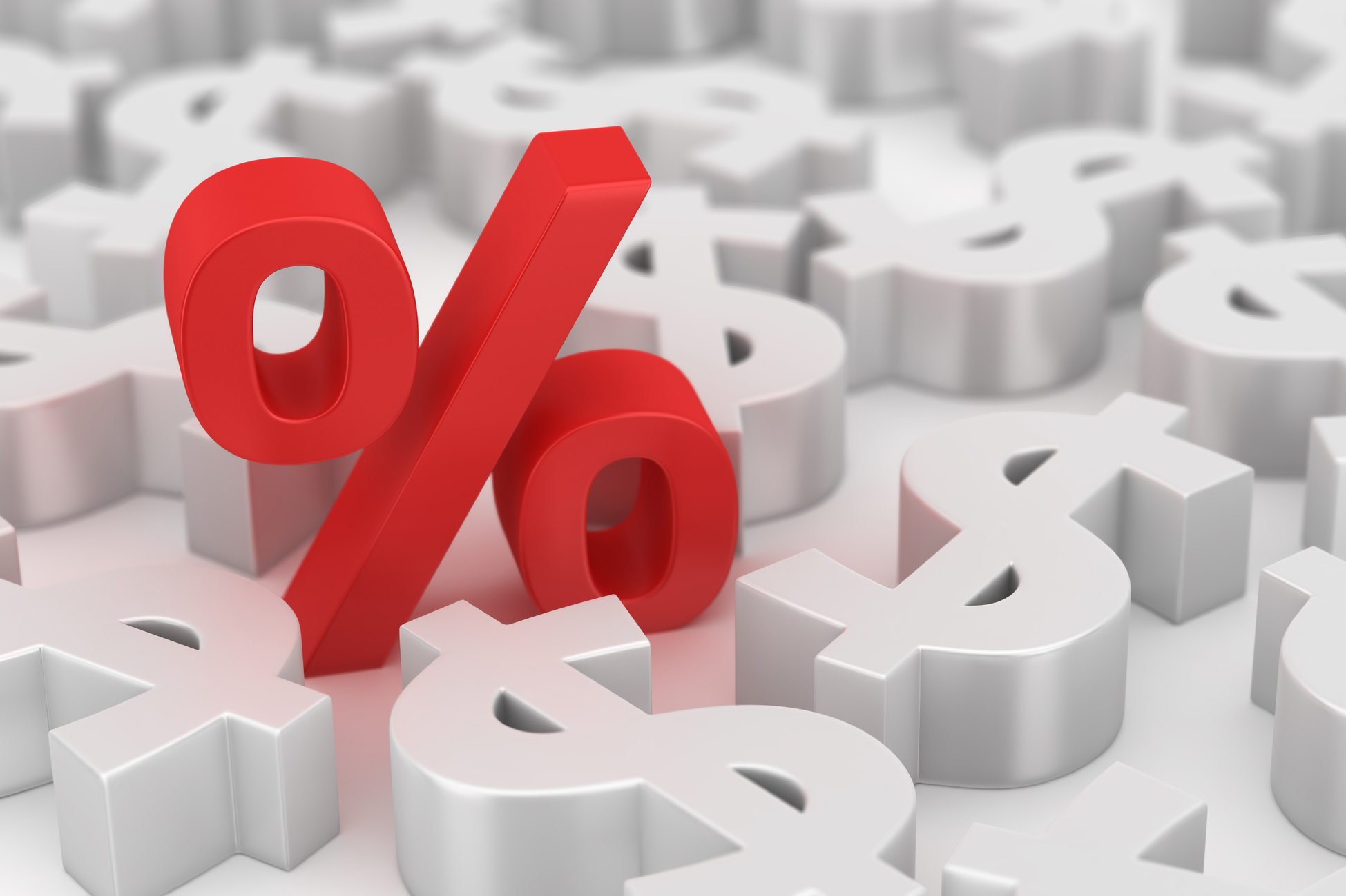 red percent sign amongst white dollar signs