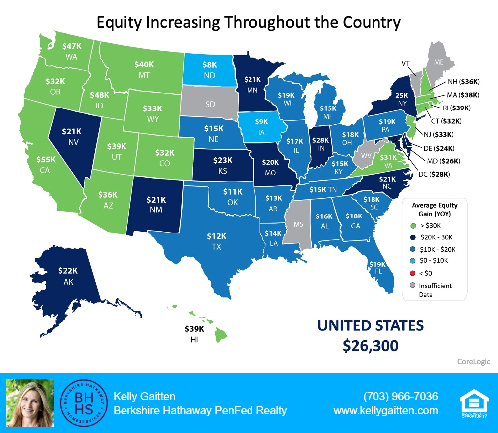equity increasing throughout the country map of the United States