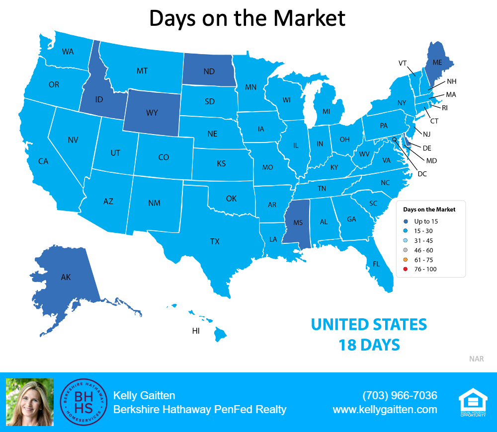 Days on the Market reflected on U.S. map by states
